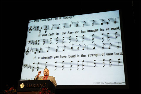 The Paperless Hymnal� in use at the 2010 Harding University Lectureships - Dr. Michael B. Wood, directing